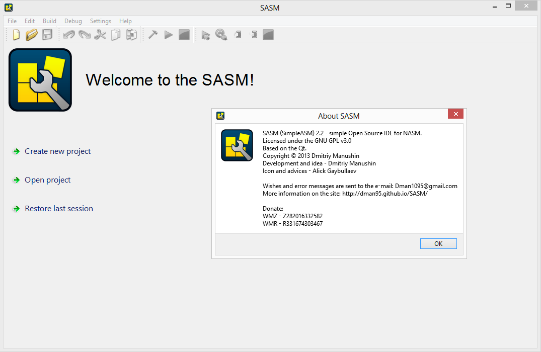 SASM - Simple crossplatform IDE for NASM, MASM, GAS, FASM